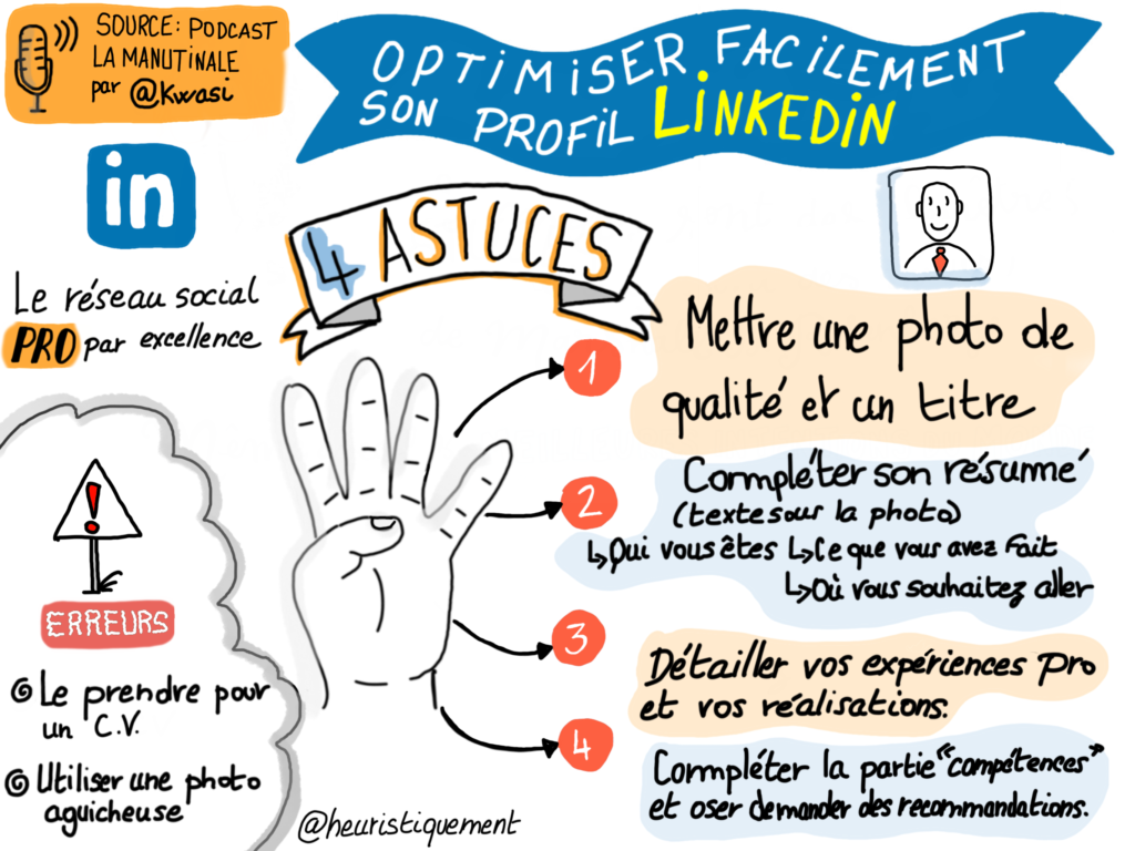 sketchnote et podcast  comment optimiser facilement son profil linkedin